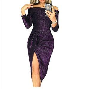 Purple Holiday Party High Split Glitter Dress Sexy